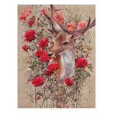 "5d Diamond Painting ""Flower & fawn"" Full Square /Round Diamond Embroidery Sale Cross Stitch Mosaic Pictures Of Rhinestones TY587(China)"