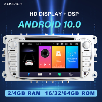 DSP 4GB 2 din Android 10 Car Radio Multimedia For Ford Focus 2 3 mk2 Mondeo 4 Kuga Fiesta Transit Connect S-MAXC-MAX Galaxy GPS image