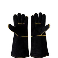 Welding gloves cowhide barbecue BBQ microwave oven insulation gloves anti hot high temperature labor protection gloves