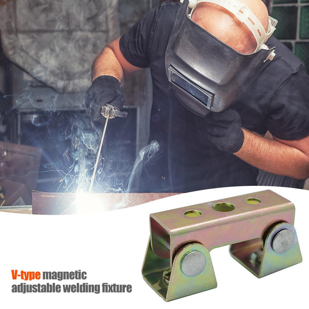 Magnetic Tool V-type Clamps Strong Adjustable Angle Locators V-shaped Magnetic Welding Fixture Holder V-pad Hand Tool