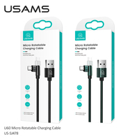 USAMS 180 Degree Rotate USB Type C 2.1A Fast Charge Wire Lightning Cable USB-C For Iphone Samsung Xiaomi Huawei Phone Cable