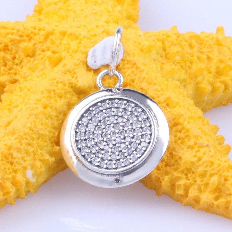 Original 925 prata esterlina charme requintado redondo com pingente de cristal caber pandora pulseira & colar jóias diy