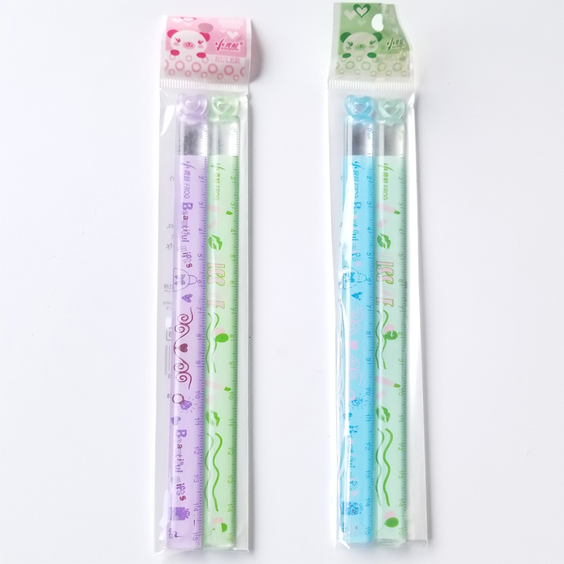 2 PCS/Lot New Love Mini Ruler Learning A Good Helper 15 Cm Children's Favorite Cartoon Straight Ruler Study Measure Stationery