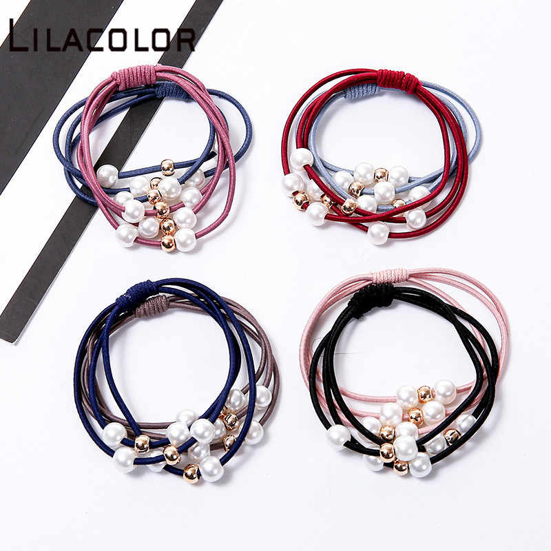 1 PC Women Girls Seamless Hair Rope Charming Pearl Elastic Hair Bands Hair Accessories beaded knot hair rope hair ring hairband