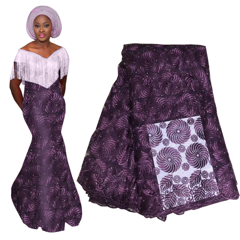 2019 High Quality Purple French Nigerian Lace Fabric African Tulle Lace Embroidered Mesh Fabric With Stones For Party Dress