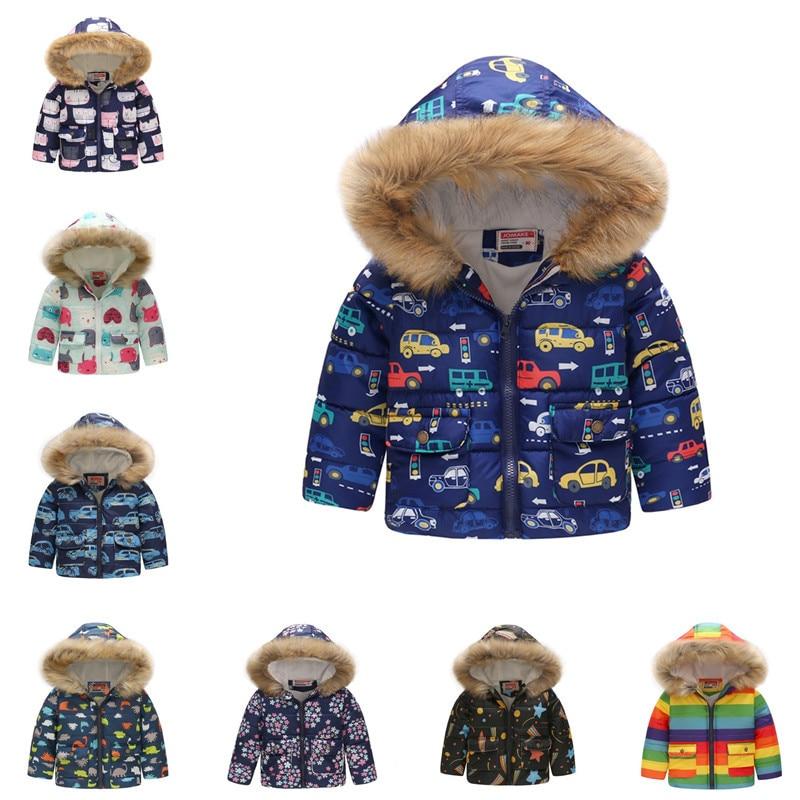 Зимняя куртка с капюшоном для девочек, детская утепленная верхняя одежда, детская куртка на день рождения, вечерние куртки с меховым воротником для мальчиков Куртки и пальто      АлиЭкспресс