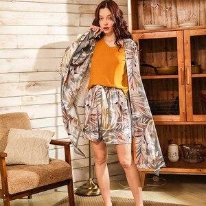 Image 5 - Bahar ve yaz bayanlar Cardighn + yelek + şort + pantolon 4 adet pijama seti Banmboo yapraklar baskı kadın pijama yumuşak gevşek ince Homewar