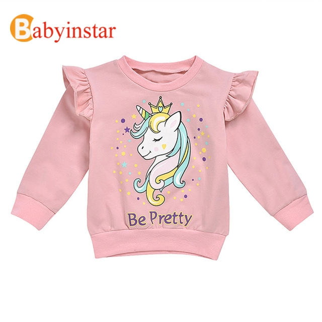 Fashionable Sweatshirt For Girls Boys Cute Letters Print Childrens Sweatshirts Cartoon Kids Costume Clothing