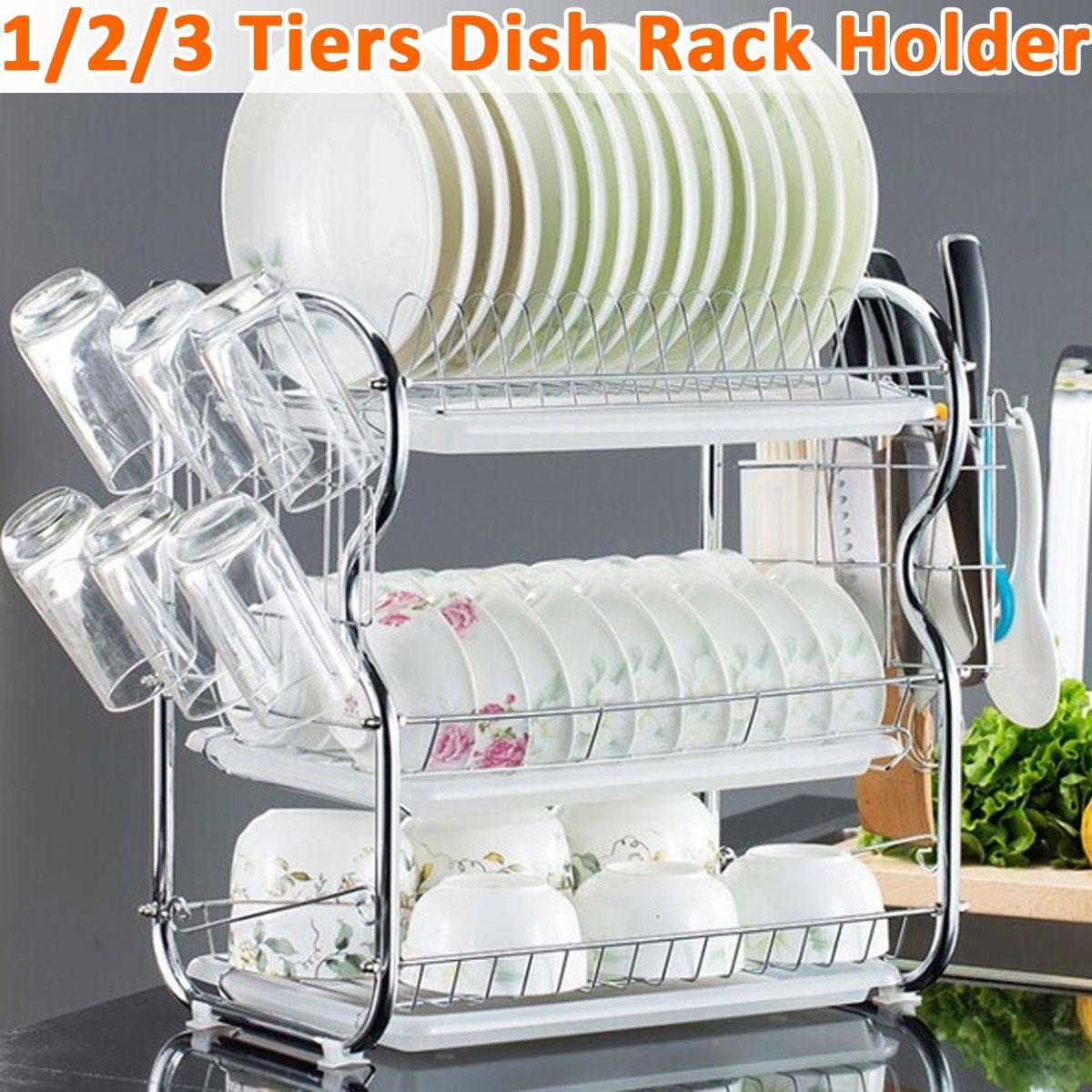 2-3 طبقات رف لتجفيف الأطباق المطبخ غسل حامل سلة مطلي الحديد سكين المطبخ بالوعة طبق تجفيف تجفيف الرف المنظم الرف