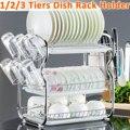 2-3 camadas prato de secagem rack de cozinha suporte de lavagem cesta chapeado ferro faca de cozinha pia prato escorredor de secagem rack organizador prateleira