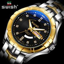 Мужские часы Топ бренд класса люкс Золотой браслет наручные