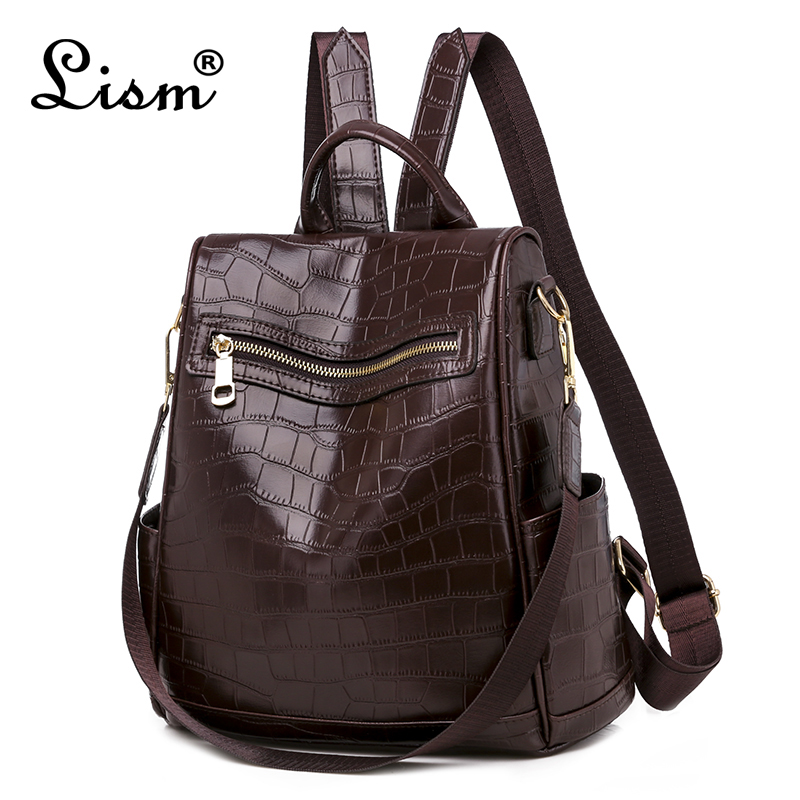 Famous Brand Luxury Backpack 2019 New Ladies Backpack High Quality Crocodile Pattern Backpack Black
