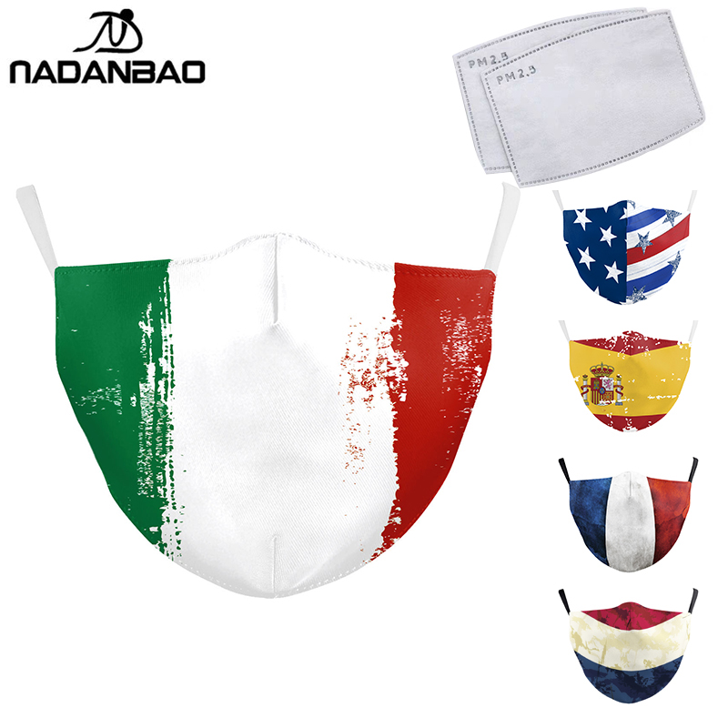 NADANBAO Forza Italy Spain Flag Print Mask Keep Fighting Face Masks Fabric Adult Protective PM2.5 Reusable Mask Proof Washable