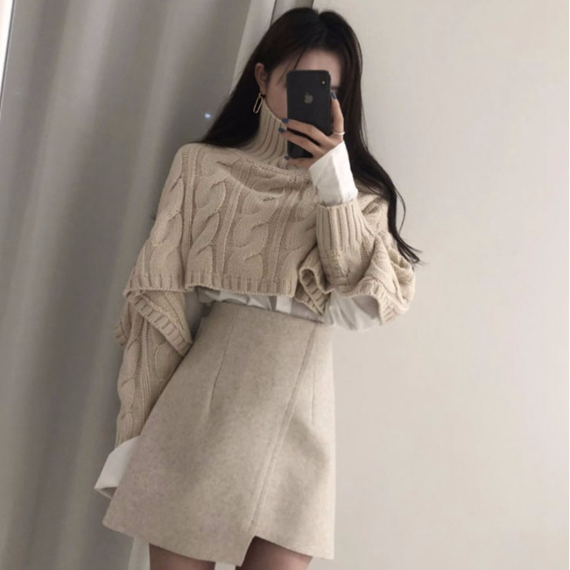 Women Clothes Skirt Two Piece Set Fall And Winter Beige Short Turtleneck Twist Pullover + Irregular High Waist Skirt