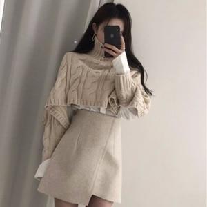 Women Clothes Skirts Two Piece Set Fall And Winter Beige Short Turtleneck Twist Pullover + Irregular High Waist Skirt