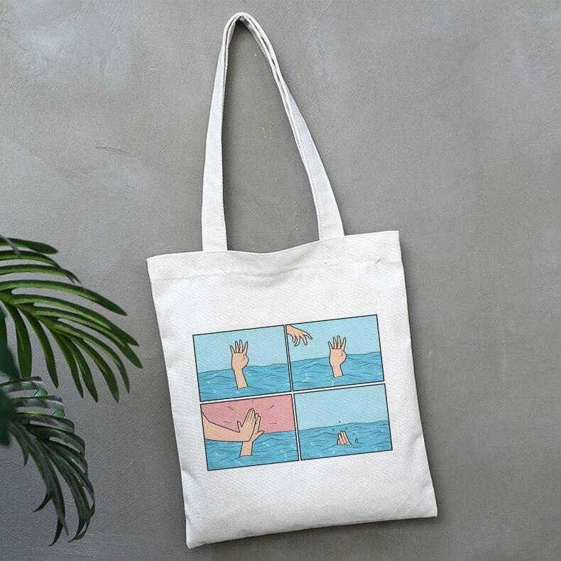 My Depression My Brain My Temper Solid Color Funny Printing Shoulder Canvas Bags Harajuku Handbag Spoof Personality Women Bag