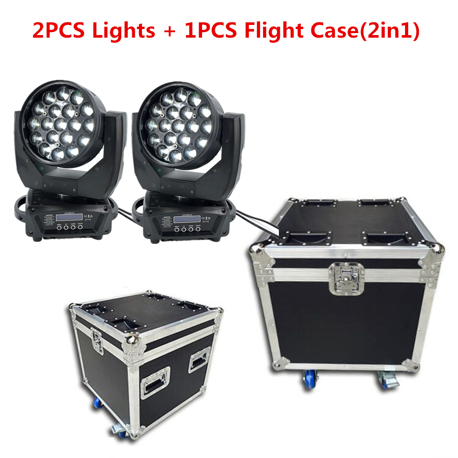Flight Case With 19x15W LED Zoom Beam Wash Moving Head Light RGBW 4in1beam Professional DJ/Bar LED Stage DMX512 Dj Lights