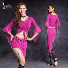 New Butterfly Sleeve Belly Dance Costume Set Triangle Hip Scarf Short Sexy Skirts for Dancing Modal Material Women Skirt