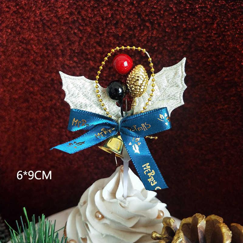 Merry Christmas Cake Topper Christmas Tree Santa Claus Elk กวาง Cupcake Topper สำหรับ Christmas PARTY ตกแต่งเค้กคริสต์มาส 1PC