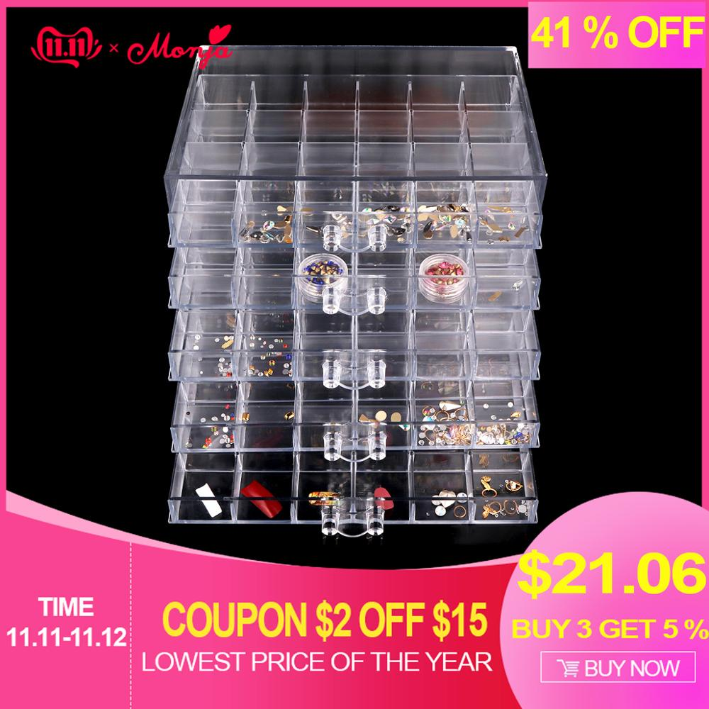 Monja 120 Grids Nail Art Decoration Accessories Clear Storage Box Rhinestones Beads Crystal Manicure Tool Display Container Case