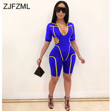 Stripe Sexy Bandage Jumpsuits for Women 2020 Summer Short Sleeve Cut-Out Bodycon Playsuit Ladies Hoo