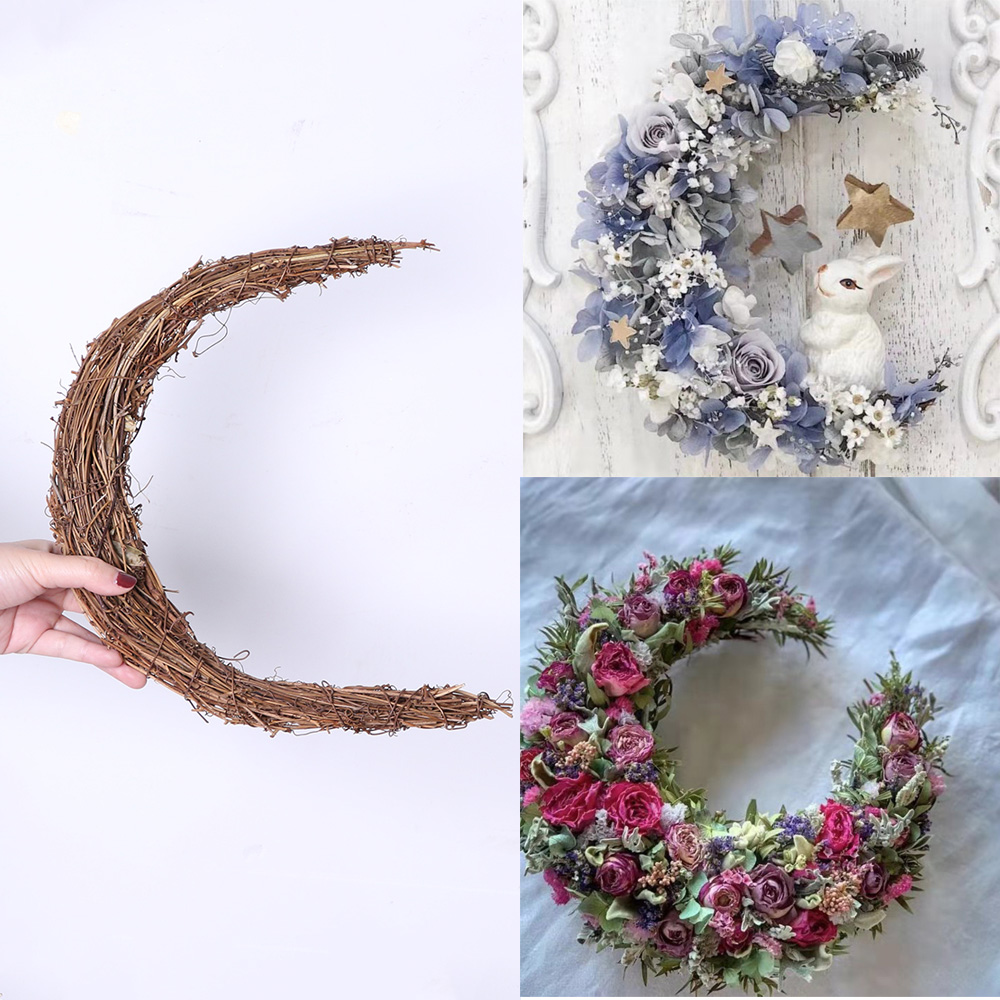 New Crescent Wreath Base Natural Rattan Wreath Door Decoration Moon Rattan Wreath Christmas Wreath Hawaii Party Farmhouse Decor image
