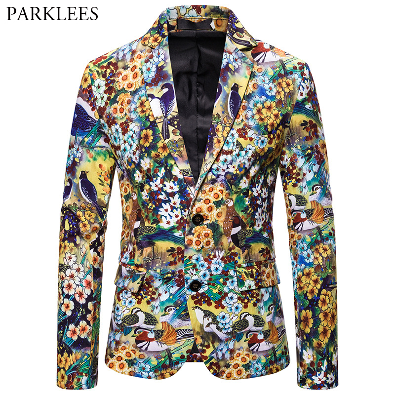 Colorful Floral Painting Men Blazer 3D Bird Flower Print Mens Blazers Jacket Wedding Party Dance Men Suit Jackets Bleiser Hombre