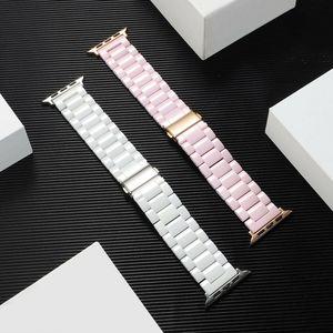 Image 2 - Bracelet à maillons en céramique, 3 perles, pour Apple Watch séries 5 4 3 2 1 38mm 40mm 42mm 44mm, bracelet à maillons, pour femmes hommes