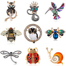 Kristall Strass Tier Broschen für Frauen Emaille Katze Eule Bee Vögel Brosche Pin Luxus Vintage Schmuck Mantel Zubehör Bijoux