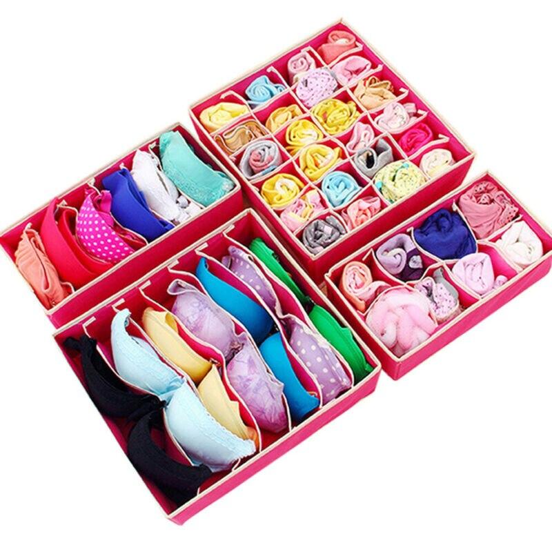 Underwear Bra Storage Box Fabric Closet Organizer Socks Storage Bag Cabinet Girls Unerwear Storage Boxes