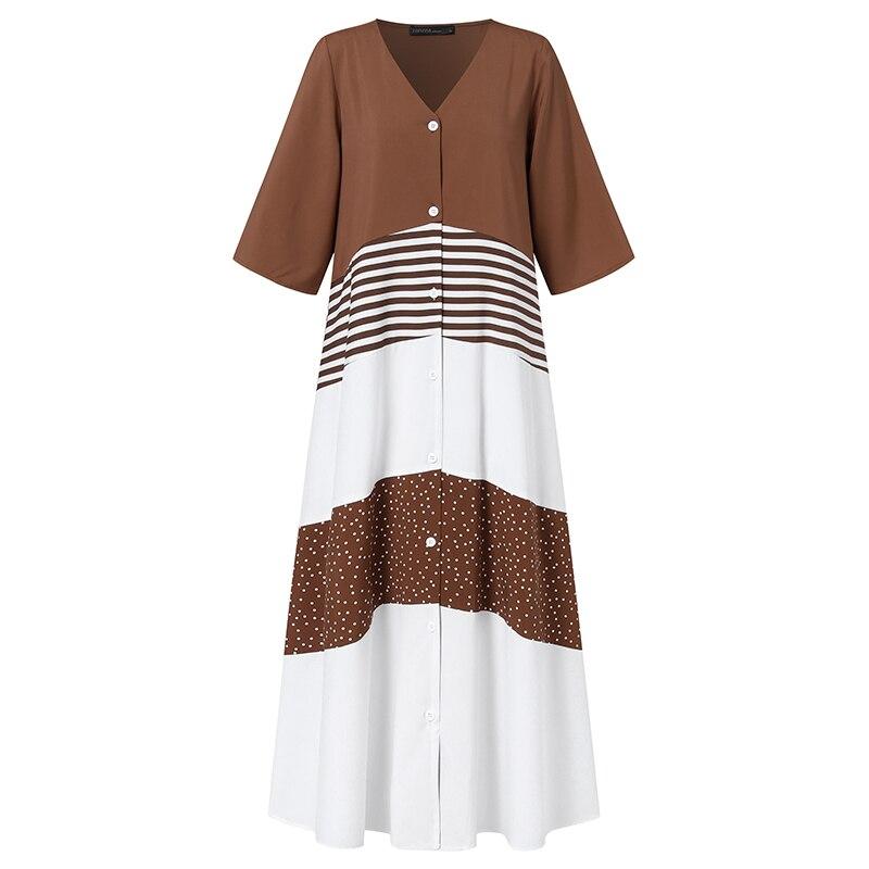 zanzea vintage vocação robe casual retalhos maxi camisas vestido bolinhas
