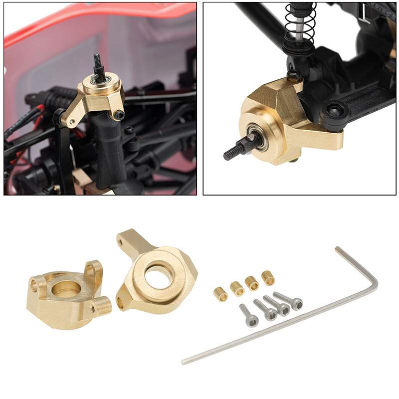 2PCS Brass Steering Knuckle Set for Axial SCX24 90081 RC Car Upgrade Parts Made of High Quality Brass Material Easy to Install