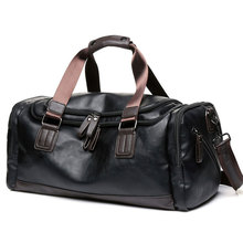 High Quality Travel Handbags Men Vintage PU Leather Luggage Duffle Crossbody Bags Large Capacity Overnight Shoulder Bag S082 high quality large capacity men pu leather computer business handbag casual vintage shoulder crossbody bag for travel work