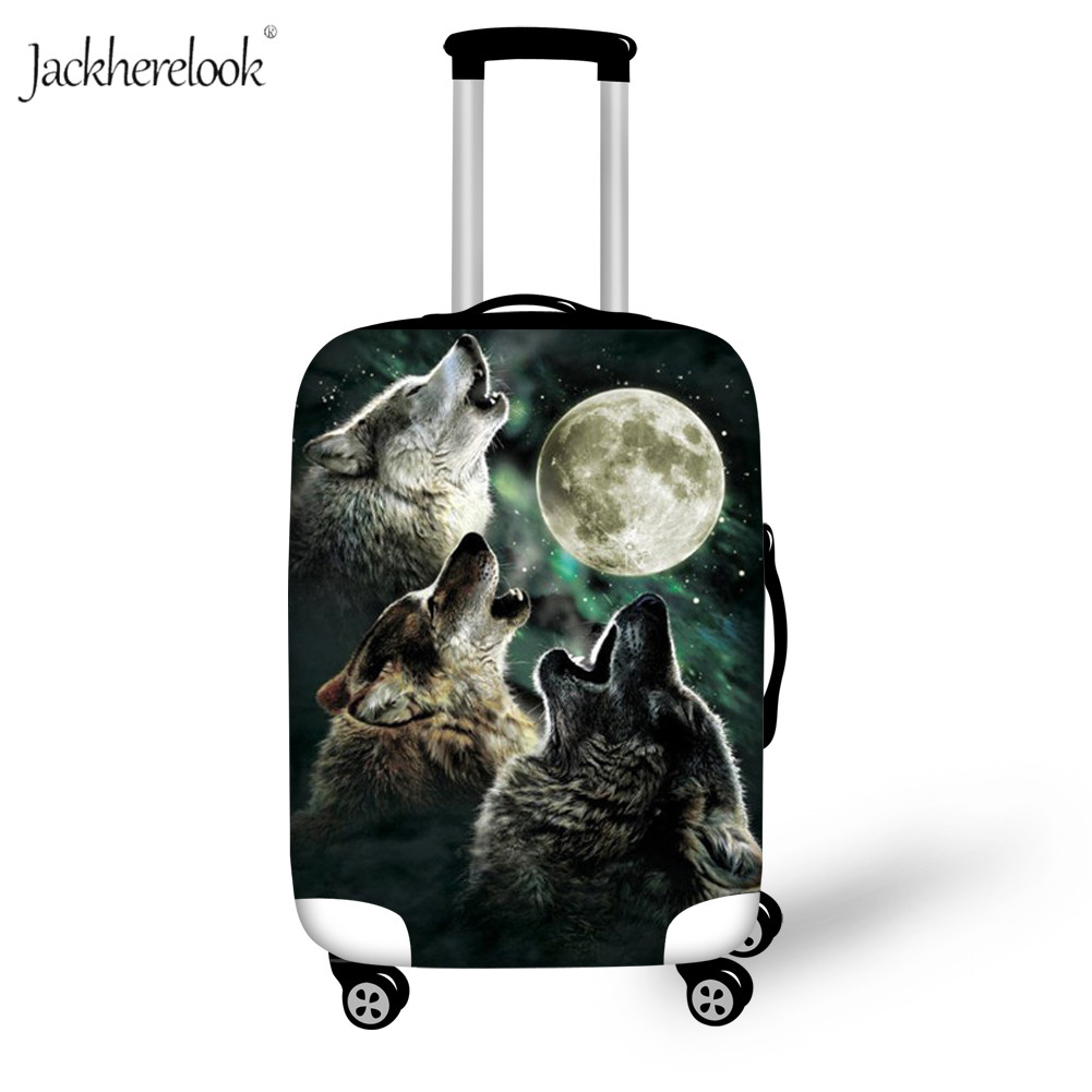 Moon Night Print Luggage Protector Wild Wolf Suitcase Cover 18-32 Inch Luggage Dirty Anti Sheet Kids Boy At Moonlight Bag Case