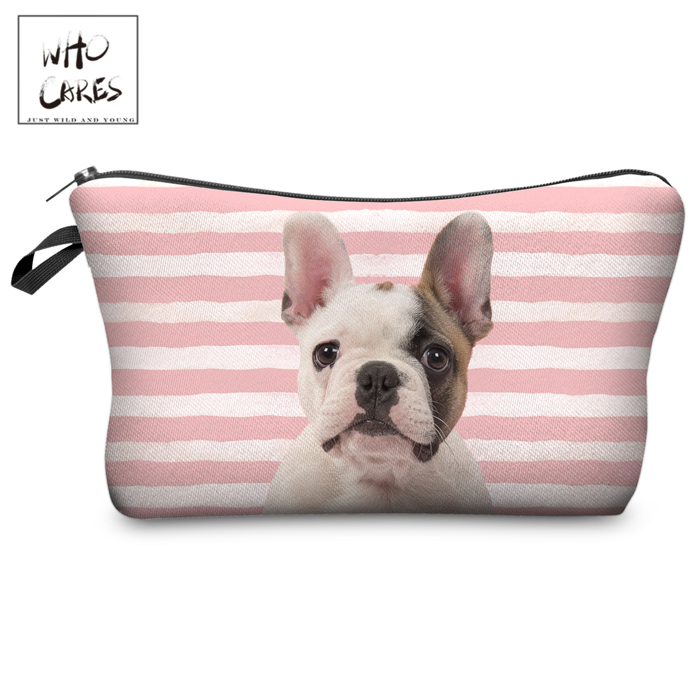 Who Cares Makeup Bags Women Cosmetic Bag Cute Puppy Stripes Printing Oiletry Bag Cosmetics Pouchs For Travel Make Up Bag