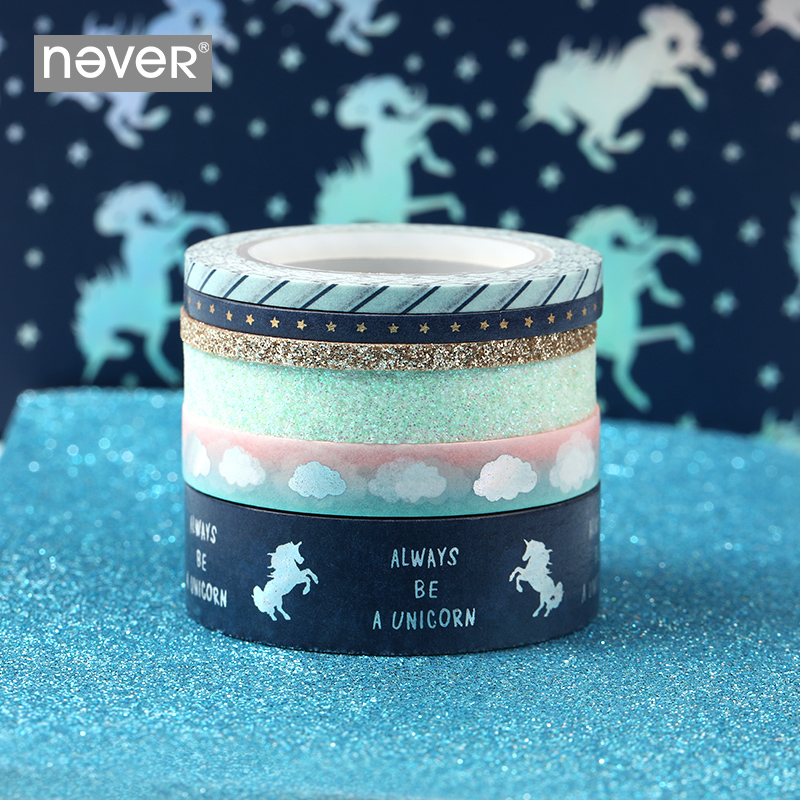 Never Unicorn Series Washi Tape Pack 6 Rolls Planner Scrapbook Decorative Masking Tape Sticker School Gift Stationery Supplies