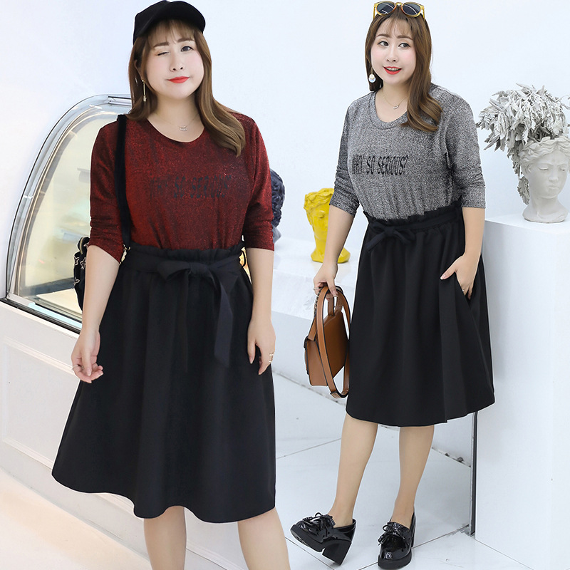 Autumn New Style Fat Mm Large Size Knitted Splicing Dress Plus-sized Western Style Skirt A Generation Of Fat 6692