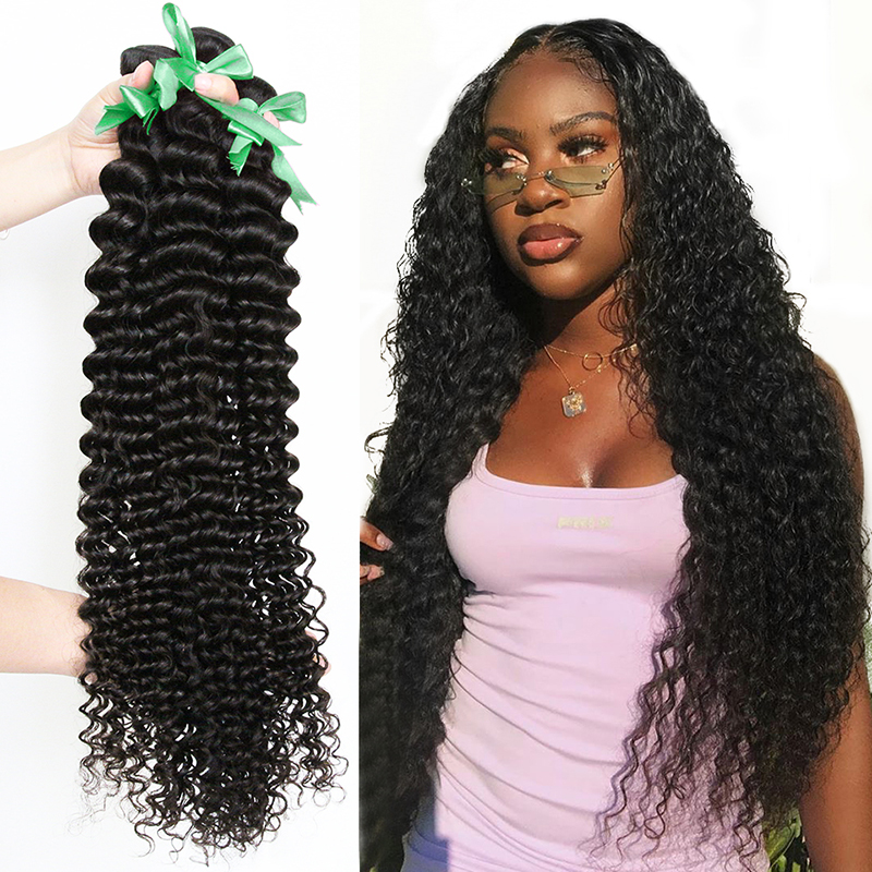 {Sunper Queen} 1/3/4 Brazilian Hair Weave Bundles Water Deep Wave 100% Human Hair Long 30 Inch Curly Double Drawn Virgin Hair