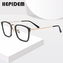 Asetat optik gözlük çerçevesi erkekler kare reçete gözlük Nerd miyopi gözlük paslanmaz çelik gözlük