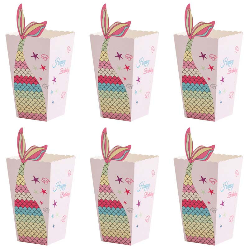 6pcs Mermaid Tail Popcorn Boxes Paper Gift Candy Box Girls Mermaid Birthday Party Decorations Kids Favors Baby Shower Supplies