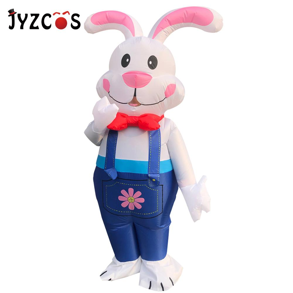 JYZCOS Halloween Inflatable Costume For Men Woman Adult Cosplay Ester Bunny Costume Suspenders White Rabbit Party Purim Disfraz