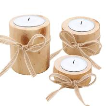 Candle Holders Personalized Wooden Candle Holder For Rustic Wedding Party Birthday Holiday Home Decoration Craft(China)