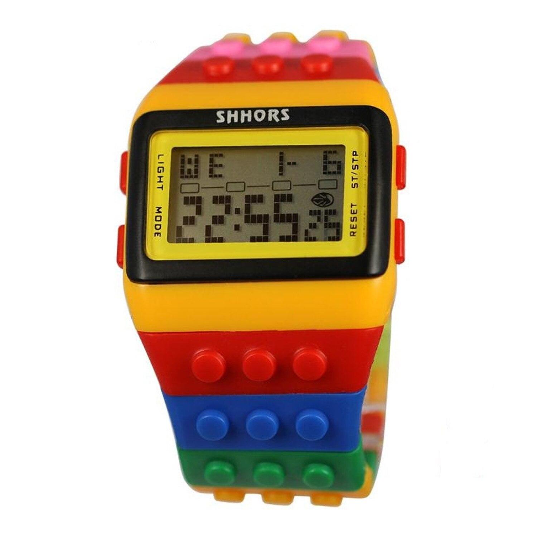 Модные Красочные строительные блоки цифровые часы с светодиодный светильник Секундомер Будильник функция для детей день рождения