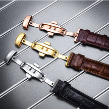 Watch Buckles Butterfly Clasp Stainless Steel Double Push Button Fold Watch Buckle Deployment for Leather Strap 18mm 20mm 22mm stainless steel deployment clasp silver 18mm watchband leather strap folding buckle butterfly buckles for omega accessories