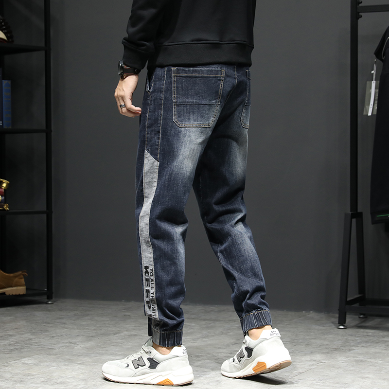 KSTUN Relaxed Tapered Jeans Men Side Patched Letters Design Dark Blue Loose Fit  Elastic Waist Drawstring Casual Pants Plus Size 14