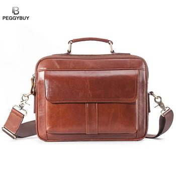 Genuine Leather Real Leather Laptop Bag Business Handbags Cowhide Men Crossbody Bag Men's Travel Brown Leather Briefcase фото