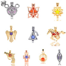 Trendy Mickey Christmas Hat Butterfly Eagle Wings Locket Cage Can Open Star of David Pendant For Essential Oil Diffuser Necklace(China)