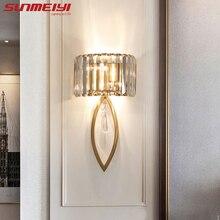Luksusowe lampy ścienne Led do salonu łazienka korytarz schody Loft lampa nowoczesne kryształowe lampy ścienne do sypialni specchio da parete
