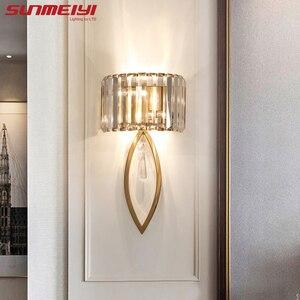 Image 1 - Luxo lâmpadas de parede led para sala estar banheiro corredor escadas loft lâmpada moderna quarto cristal luz parede specchio da parete