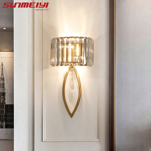 Image 1 - Luxury Led Wall Lamps For Living room Bathroom Corridor Stairs Loft Lamp Modern Bedroom Crystal Wall Light specchio da parete